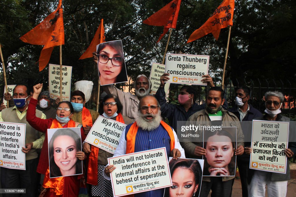 Protest Against International Celebrities Commenting On Farmers Protest In India : News Photo