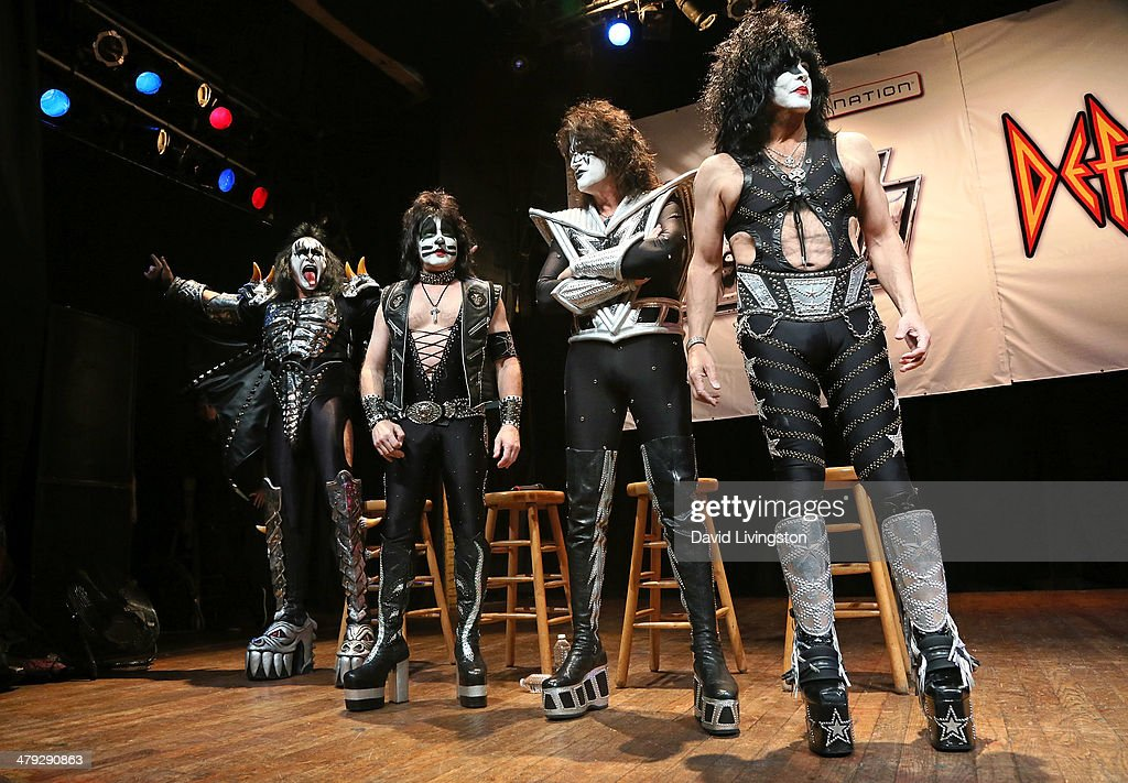 KISS members Gene Simmons, Eric Singer, Tommy Thayer and Paul Stanley attend the KISS and Def Leppard press announcement at House of Blues on March 17, 2014 in Los Angeles, California.