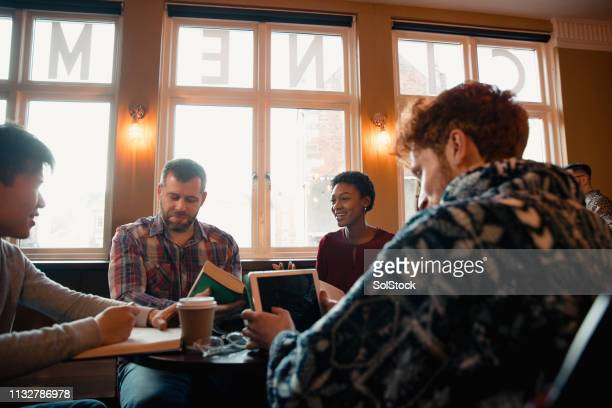 members in book club - book club meeting stock pictures, royalty-free photos & images