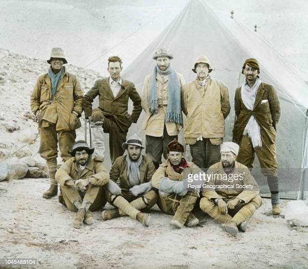 Members in camp 1924 Mount Everest Expedition Back row Andrew Irvine George Mallory Edward Norton Noel Odell and John Macdonald Front row Edward...