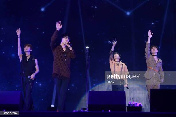 Members JR Aron Baekho and Ren of South Korean boy group NU'EST W perform onstage during the showcase of album 'Who You' on June 25 2018 in Seoul...