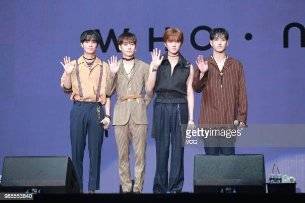 Members JR Aron Baekho and Ren of South Korean boy group NU'EST W attend the showcase of album 'Who You' on June 25 2018 in Seoul South Korea