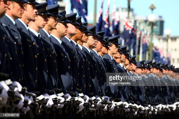 Members look on during the Parade of RNZAF colours for the RNZAF 75th anniversary at Parliament Forecourt on April 3, 2012 in Wellington, New Zealand.