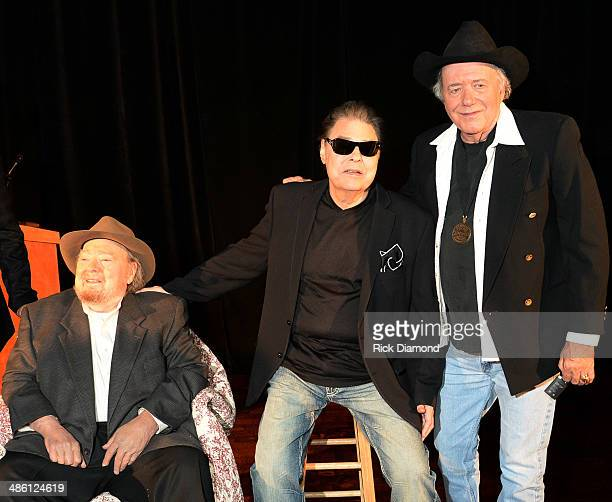 CMHOF members Mac Wiseman Ronnie Milsap and Bobby Bare attend the 2014 Country Music Hall Of Fame Inductees Announcement at the Country Music Hall of...