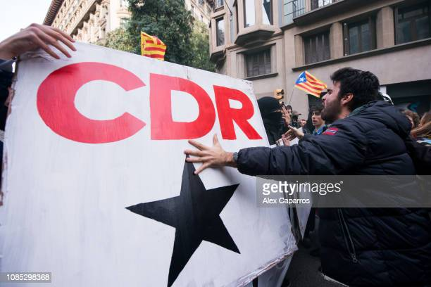 CDR members march near the Llotja de Mar where a Spain's Cabinet meeting was held on December 21 2018 in Barcelona Spain CDRs and ProIndependence...