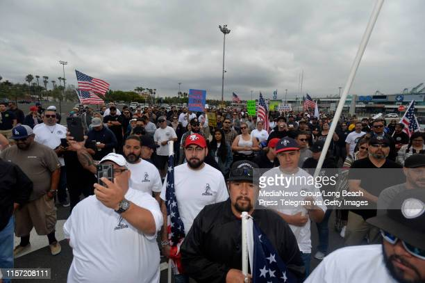 ILWU members march to the Harbor Commission meeting in San Pedro on Thursday June 20 2019 for the final vote on appeal of APM Terminal request for...