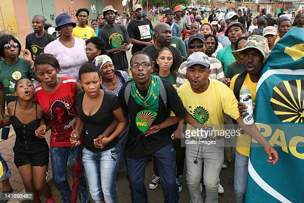PAC members marching in Sharpeville in Johannesburg South Africa protesting that Human Rights Day commemorations are taking place in Soweto instead...
