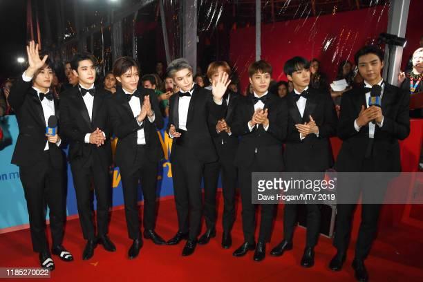 NCT 127 members Mark Lee Haechan Doyoung Jaehyun WINWIN Johnny Yuta Nakamoto and Taeyong attend the MTV EMAs 2019 at FIBES Conference and Exhibition...