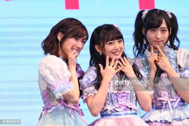 Members Mayu Watanabe, Mion Mukaichi and Oguri Yui of Japanese girl group AKB48 attend AKB48 fans meeting on November 20, 2017 in Shanghai, China.
