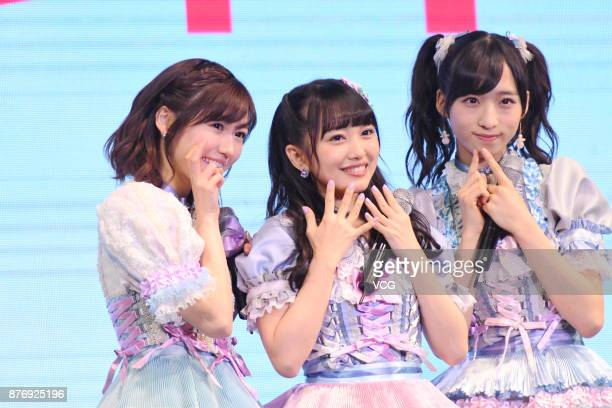 Members Mayu Watanabe Mion Mukaichi and Oguri Yui of Japanese girl group AKB48 attend AKB48 fans meeting on November 20 2017 in Shanghai China