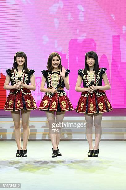 Members Mayu Watanabe,Kawamoto Saya and Izu Darina come to Shanghai for fans meeting conference on 11th December, 2016 in Shanghai, China.
