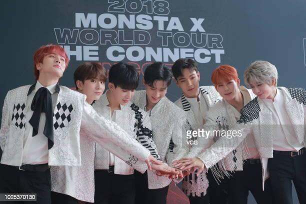 Members Minhyuk Kihyun Wonho IM Shownu Jooheon and Hyungwon of South Korean boy band Monsta X attend the press conference of 2018 Monsta X World Tour...