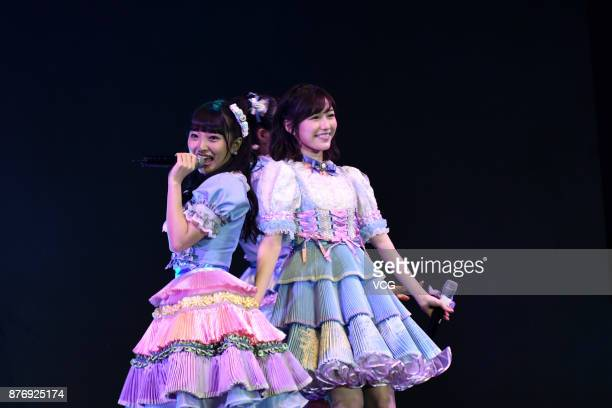 Members Mion Mukaichi and Mayu Watanabe of Japanese girl group AKB48 attend AKB48 fans meeting on November 20, 2017 in Shanghai, China.