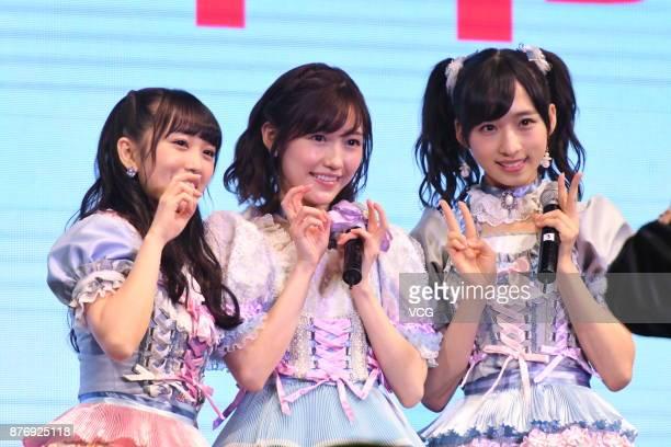 Members Mion Mukaichi, Mayu Watanabe and Oguri Yui of Japanese girl group AKB48 attend AKB48 fans meeting on November 20, 2017 in Shanghai, China.