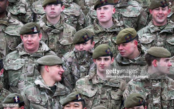 Members of 1st Battalion Welsh Guards before a regimental photograph prior to the combined St David's Day celebration and predeployment service at...
