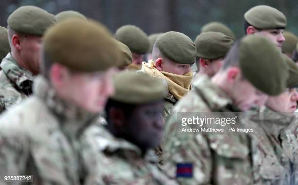 Members of 1st Battalion Welsh Guards during the combined St David's Day celebration and predeployment service at Elizabeth Barracks Pirbright Surrey