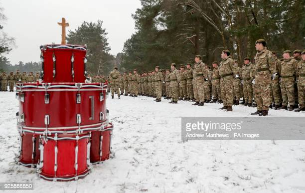 Members of 1st Battalion Welsh Guards line up during the combined St David's Day celebration and predeployment service at Elizabeth Barracks...