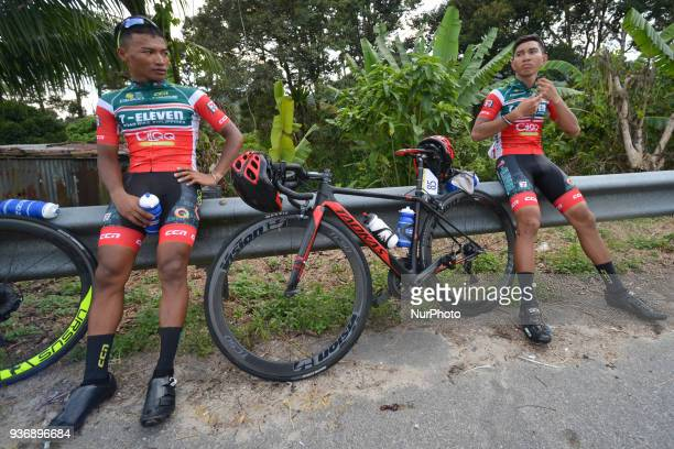 Members of 7 ElevenCliqq Roadbike Philippines at the finish line of the sixth stage the 1085km from Tapah to Tanjung Malim of the 2018 Le Tour de...