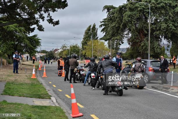 Members of a biker gang accompany the hearse vehicle before the funeral for Haji Mohammed Daoud Nabi a victim of the Al Noor Mosque massacre in...