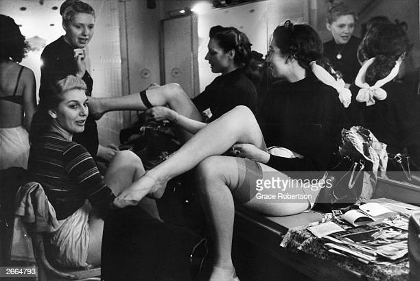 Members of a Bluebell Girls dance troupe after a rehearsal at the Nuevo Teatro in Milan November 1951 Original Publication Picture Post 5672 Miss...