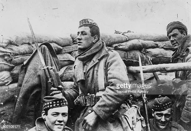 Members of a British Highland regiment in a trench during World War I 1915