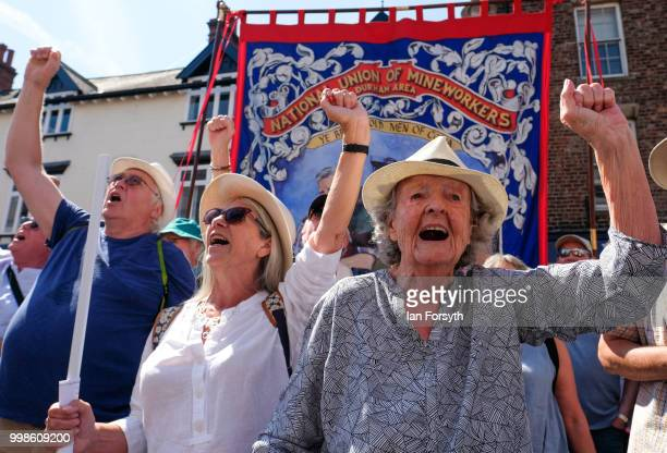 Members of a choir sing as they stand below the County Hotel during the 134th Durham MinersÕ Gala on July 14 2018 in Durham England Over two decades...