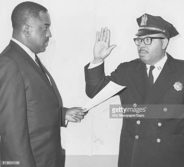 Members of a Civil Defense team during swearing in ceremony, New Jersey, March 18, 1967.