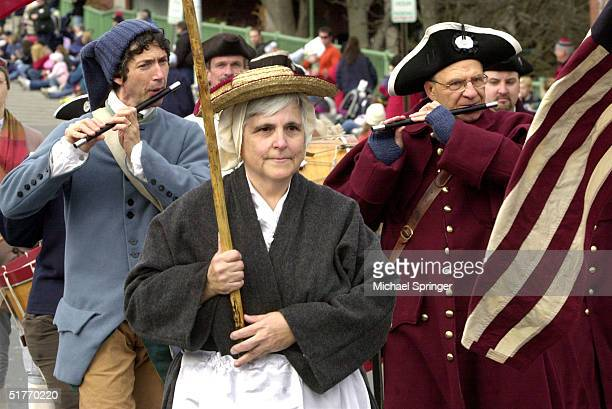 Members of a colonial fife and drums corps march in the annual Thanksgiving Parade November 20 2004 in Plymouth Massachusetts The parade part of a...