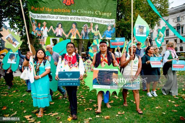 Members of a delegation of indigenous and rural community leaders from 14 countries in Latin America and Indonesia The Guardians of the Forest...