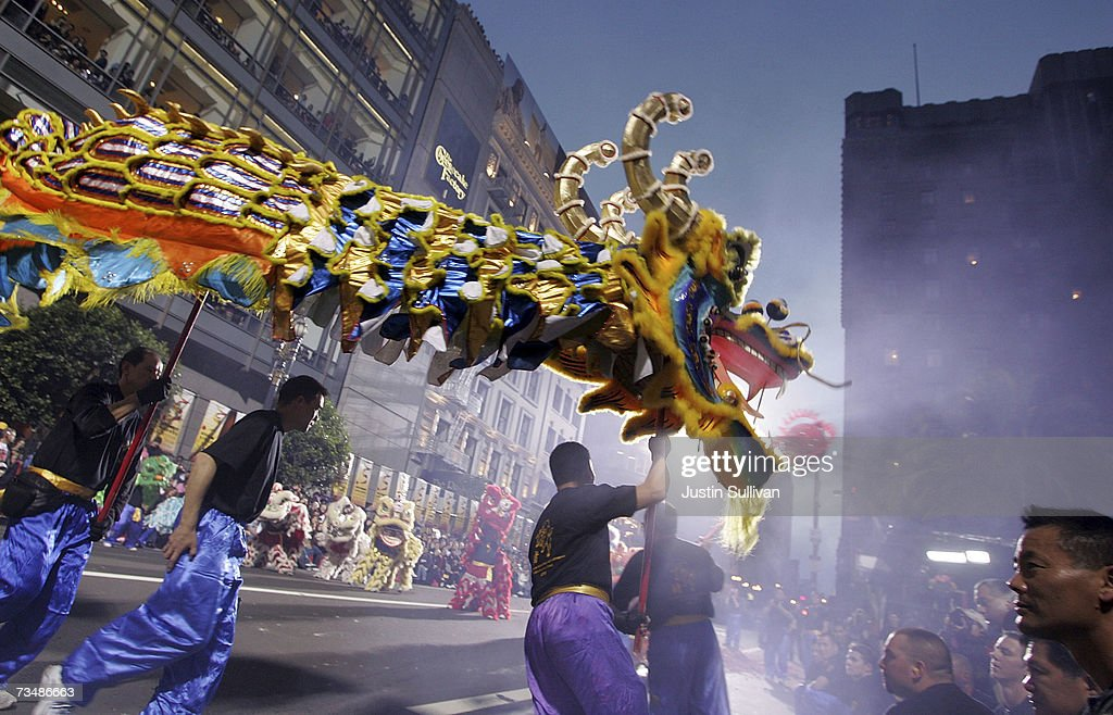 members of a dragon team perform during the san francisco chinese new year festival and parade - Chinese New Year San Francisco