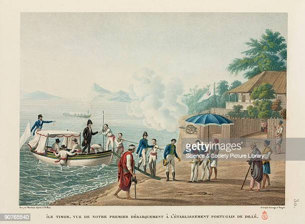 Members of a French expedition making their first landing at Dili are greeted by Portuguese colonists who fire cannon to mark the occasion...