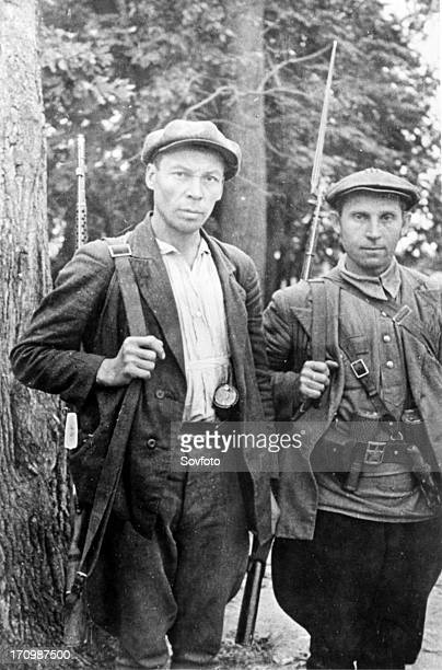 Members of a guerrilla detachment which successfully operates in nazi rear.