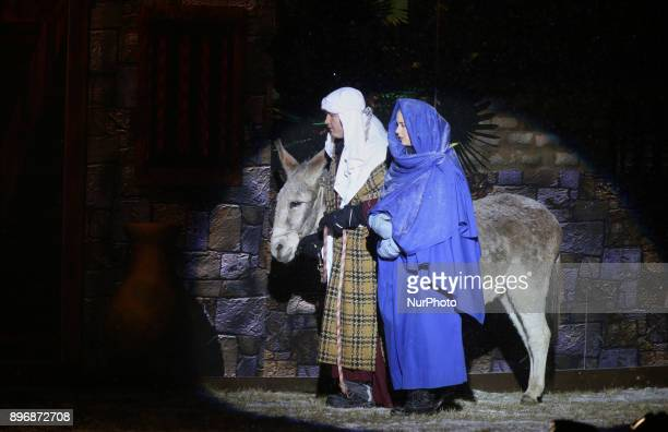Members of a local church reenact the birth of Jesus Christ during a nativity pageant in Newmarket Ontario Canada on December 21 2017