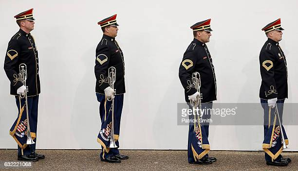 Members of a military band line up during the Inaugural Parade on January 20 2017 in Washington DC Donald J Trump was sworn in today as the 45th...