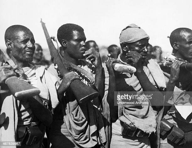 Members of a native Ethiopian tribe allied to Italy that has joined forces with them and are being supplied with modern weapons Ethiopa mid 1930s