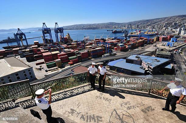 Members of a Navy crew take pictures at the Artillery Hill on February 22 2008 in Valparaiso Valparaiso is one of the most important South American...