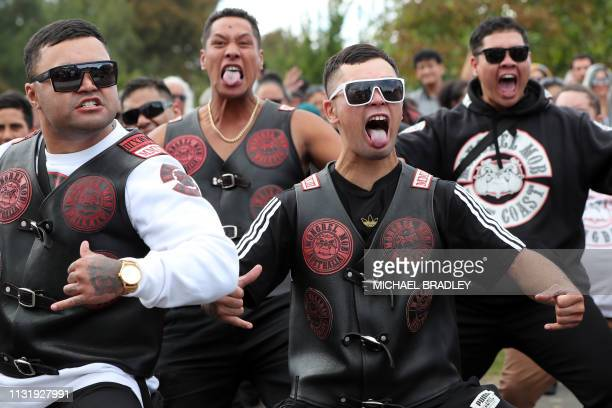 Members of a New Zealand biker gang perform the haka in tribute of those killed in the March 15 Christchurch twin mosque massacre, outside the Jamia...
