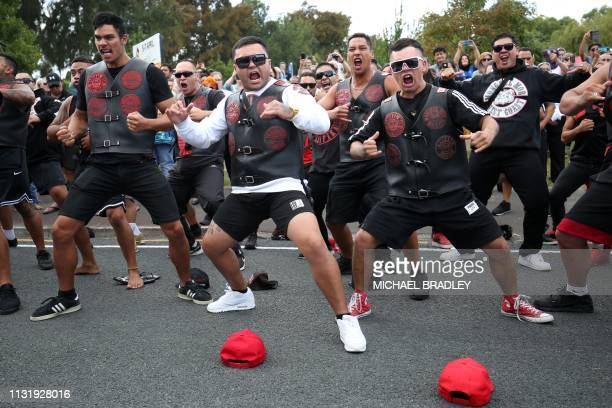 Members of a New Zealand biker gang perform the haka in tribute of those killed in the March 15 Christchurch twin mosque massacre outside the Jamia...