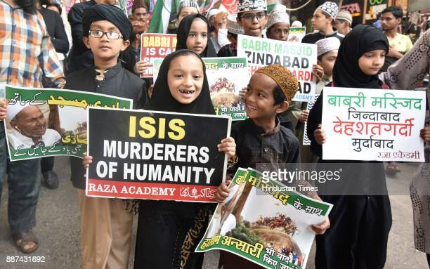 Members of a Raza Academy stage a demonstration on the 25th Anniversary of Demolition of Babri Masjid on December 6 2017 in Mumbai India The...