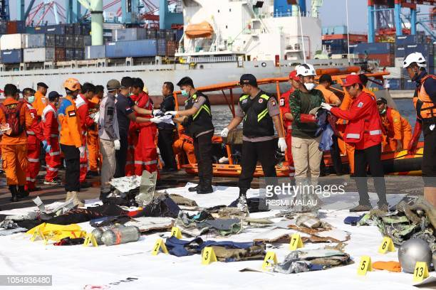 Members of a rescue team bring personal items and wreckage ashore at the port in Tanjung Priok North Jakarta on October 29 after they were recovered...
