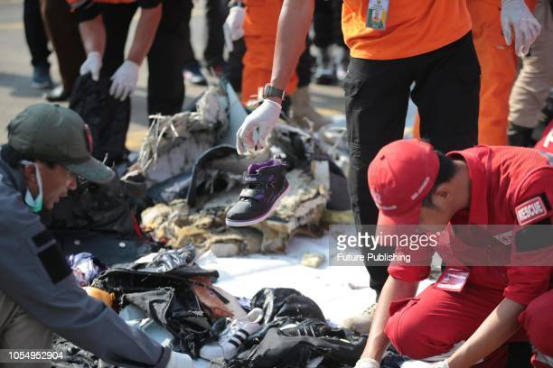 Members of a rescue team bring personal items and wreckage ashore at the port in Tanjung Priok North Jakarta Indonesia on October 29 after they were...