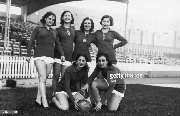 Members of a Spanish female football team circa 1950