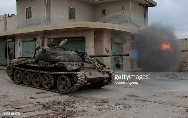Members of a Syrian opposition group attack the headquarters of Assad regime forces in the villages of Nubul and alZahraa in Aleppo Syria on February...