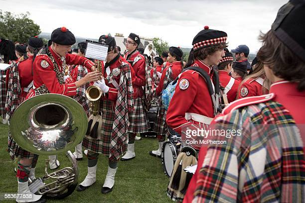 Members of a traditional Scottish pipe band from Dunedin Florida gathering before Pipefest Stirling an event staged at Stirling Castle to coincide...