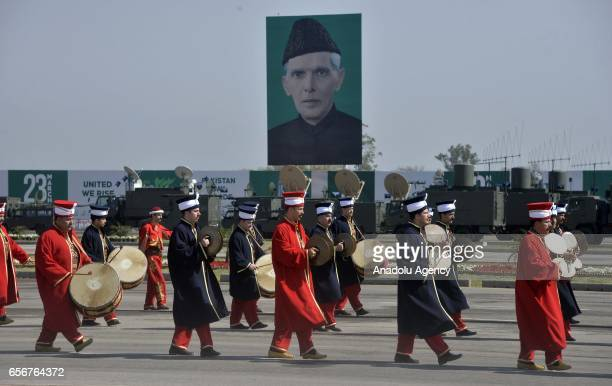 Members of a Turkish general staff Mehter team an Ottoman military band perform as they first time take part in a military parade to mark Pakistan's...