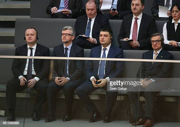 Members of a Ukrainian delegation including Volodymyr Groysman Chariman of the Verkhovna Rada the Ukrainian parliament and Ukrainian Ambassador to...