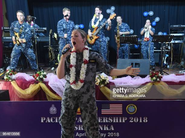Members of a US Navy band take part in a performance in the Sri Lankan town of Trincomalee on May 4 2018 US and partner nation service members...