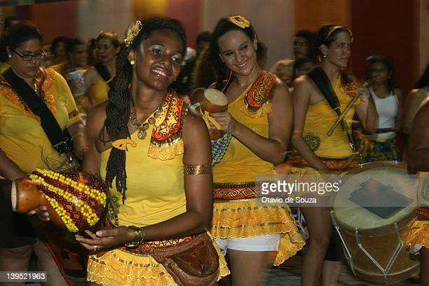 Members of AFoxé dance during the parade in Recife Antigo on February 22 2012 in Recife Brazil Carnival is the biggest and most popular celebration...