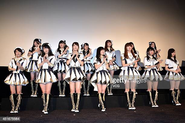 Members of AKB48 attend their documentary 'The time has come' press conference at Roppongi Hills on July 3 2014 in Tokyo Japan