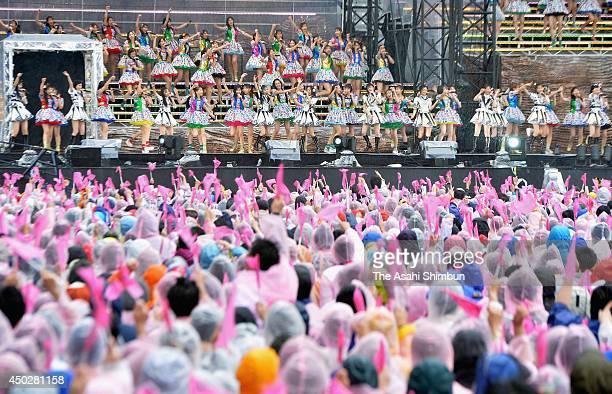 Members of AKB48 perform during the AKB48 37th Single General Election at Ajinomoto Stadium on June 7 2014 in Chofu Tokyo Japan